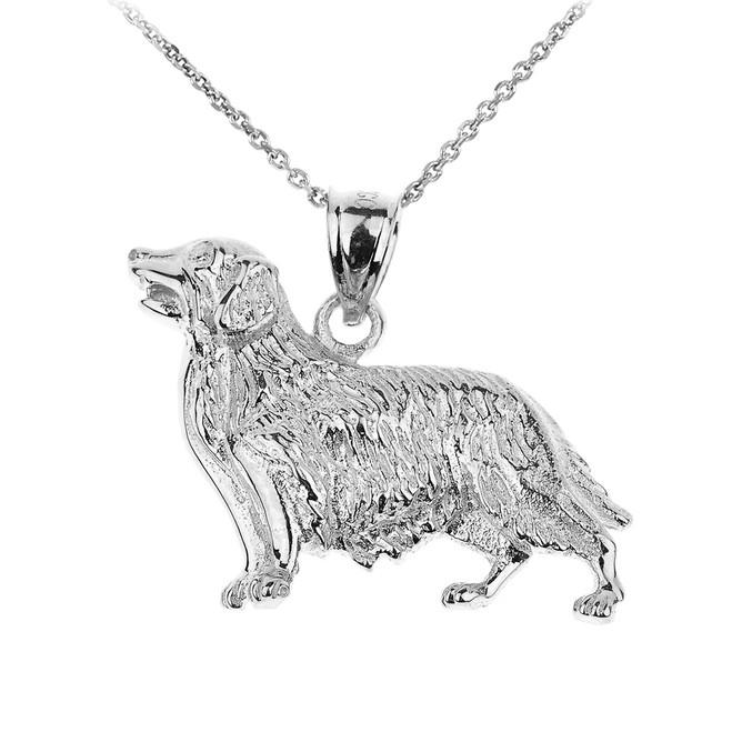 White Gold Golden Retriever Dog Pendant Necklace