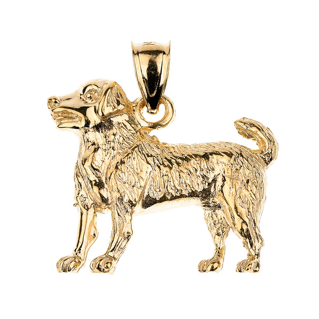 Gold Labrador Retriever Dog Pendant Necklace