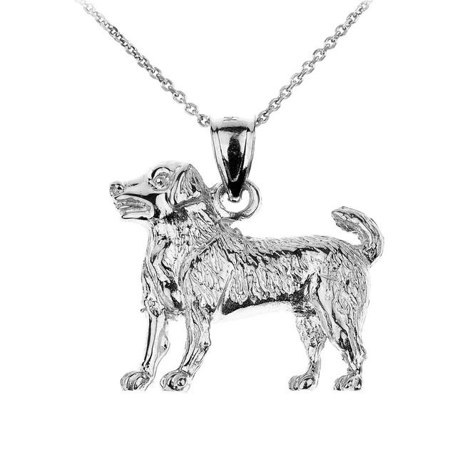 Sterling Silver Labrador Retriever Dog Pendant Necklace