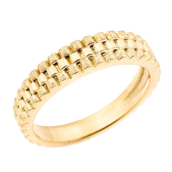 Yellow Gold Watchband Design Unisex Wedding Band