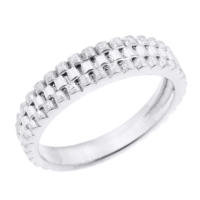 White Gold Watchband Design Unisex Wedding Band