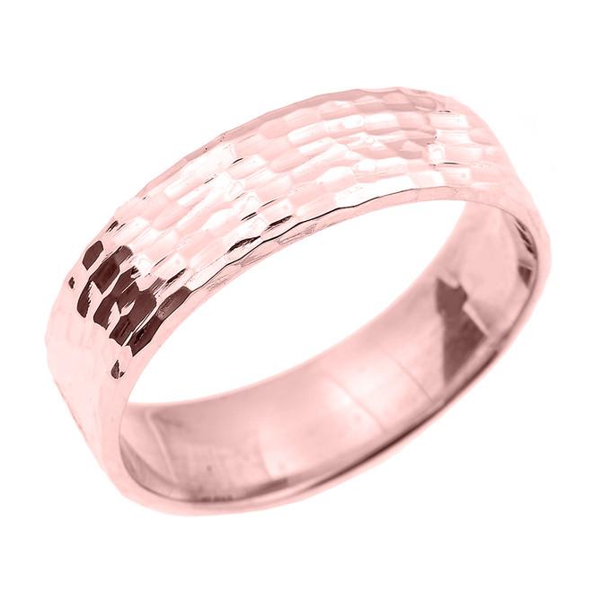 Rose Gold Hammered Unisex Wedding Band 7.0 MM