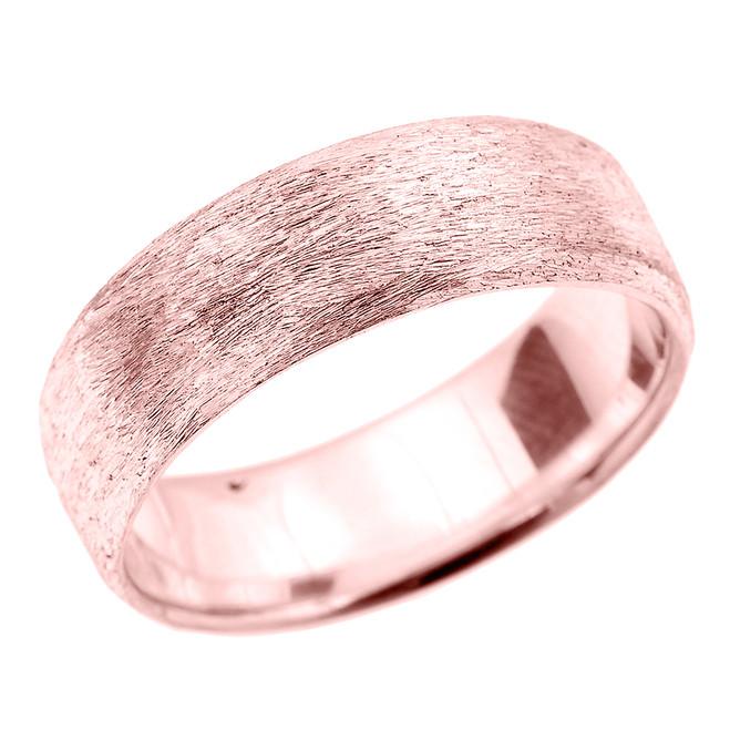 Rose Gold Satin Finished Unisex Wedding Band 7.2 MM