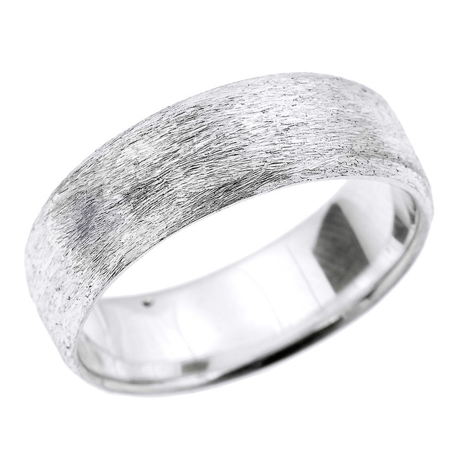 Sterling Silver Satin Finished Unisex Wedding Band 7.2 MM
