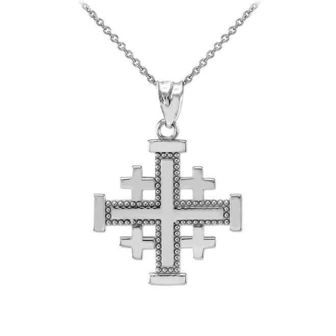 White Gold Jerusalem Cross Pendant Necklace