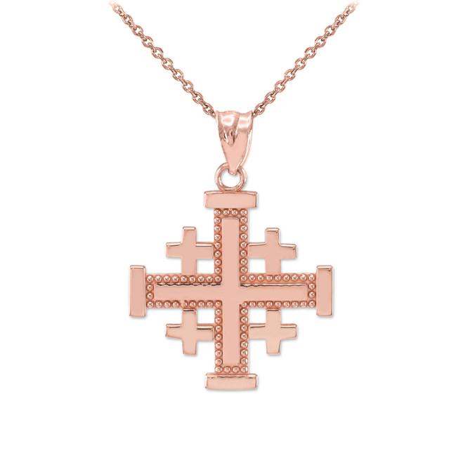 Rose Gold Jerusalem Cross Pendant Necklace