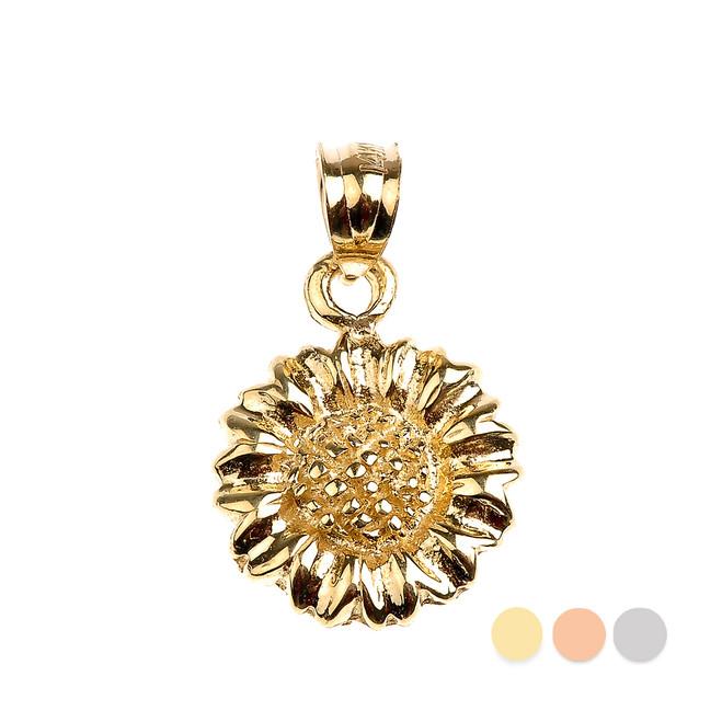 Gold Sunflower Charm Pendant Necklace