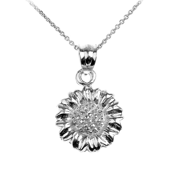 White Gold Sunflower Charm Pendant Necklace
