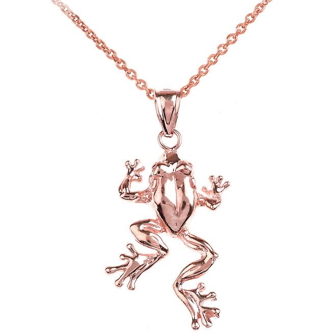 Polished Rose Gold Frog Pendant Necklace