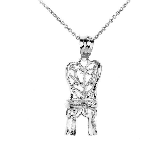 Stering Silver Elegant Chair Pendant Necklace