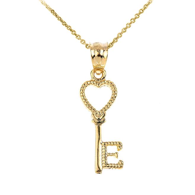 Gold Heart Key Pendant Necklace