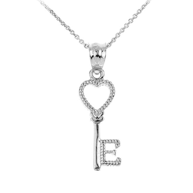 White Gold Heart Key Pendant Necklace