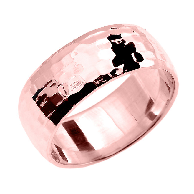 Rose Gold Hammered Comfort Fit Classic Wedding Band 8.0 mm