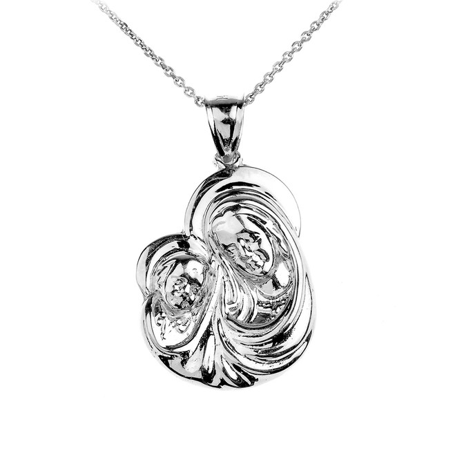 Silver Madonna and Child Mother's Embrace Pendant Necklace