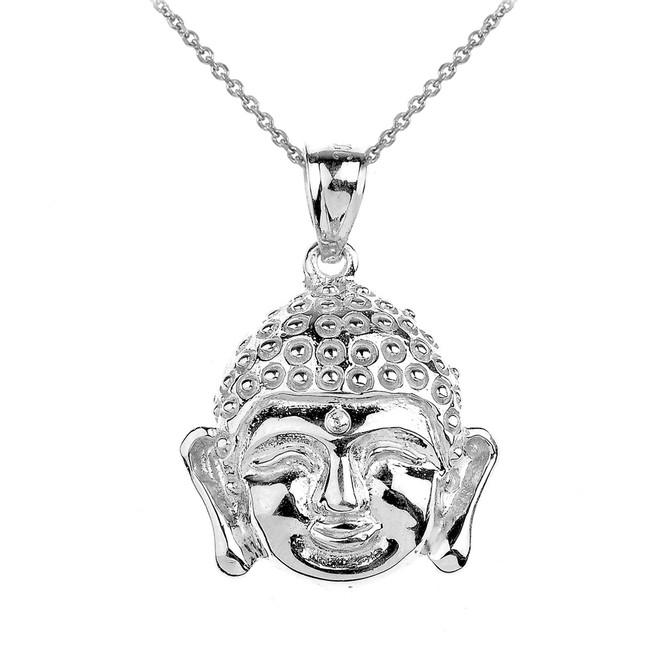 White Gold Buddha Head Pendant Necklace