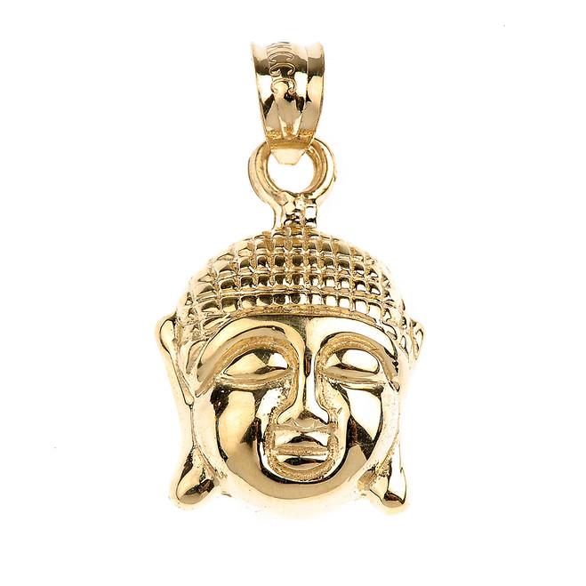 Gold Buddha Head Charm Pendant Necklace