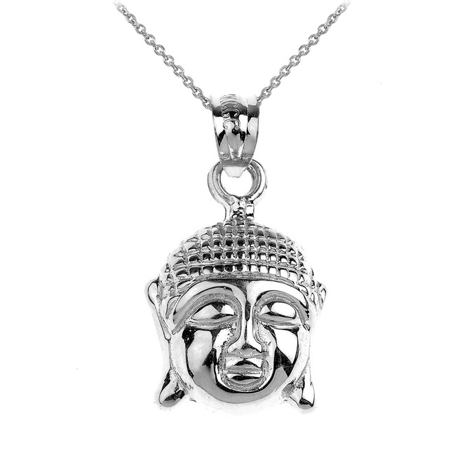 White Gold Buddha Head Charm Pendant Necklace