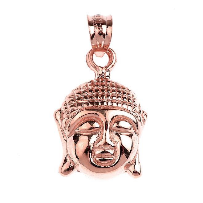 Rose Gold Buddha Head Charm Pendant Necklace