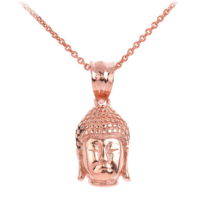 Buddha Head Pendant Necklace in Rose Gold