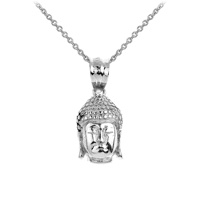 Buddha Head Pendant Necklace in Sterling Silver