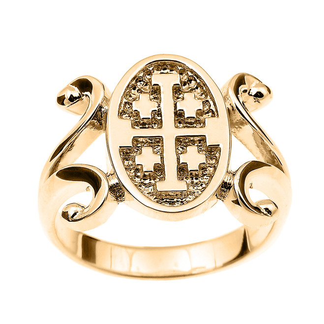 Yellow Gold Jerusalem Cross Ladies Ring