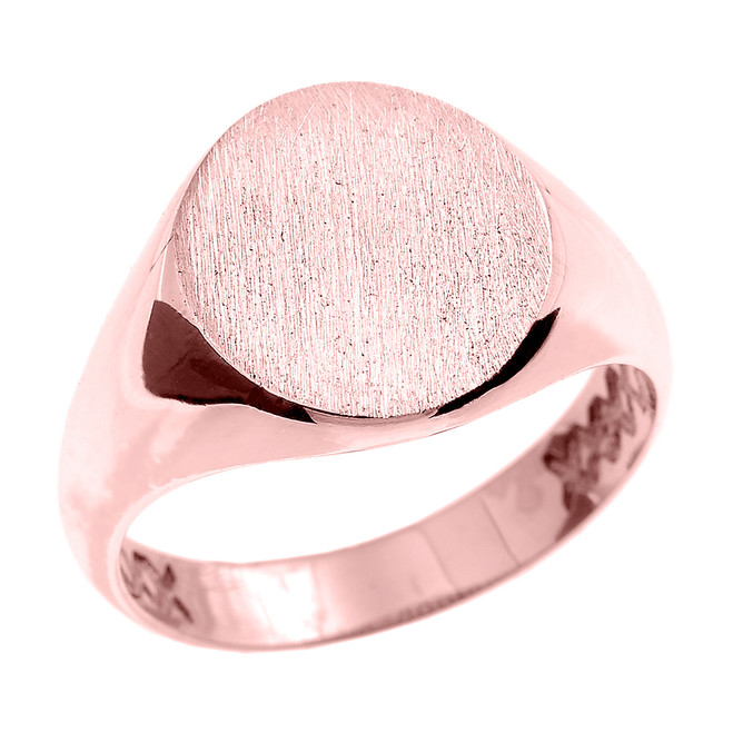 Rose Gold Oval Engravable Men's Signet Ring