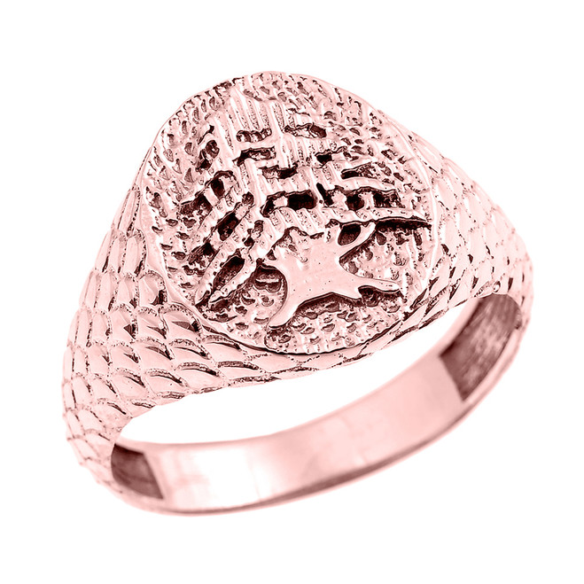 Rose Gold Textured Band Lebanese Cedar Tree Men's Ring