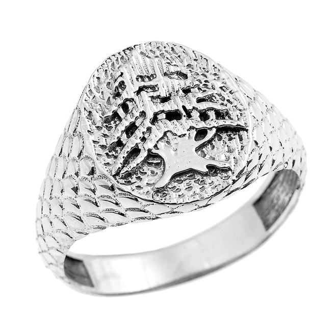 Sterling Silver Textured Band Lebanese Cedar Tree Men's Ring