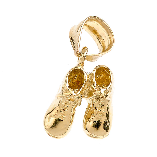 High Polish 14k Rose Gold Baby Girl Shoes Charm Pendant Necklace