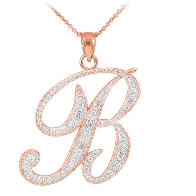 "14k Rose Gold Letter Script ""B"" Diamond Initial Pendant Necklace"