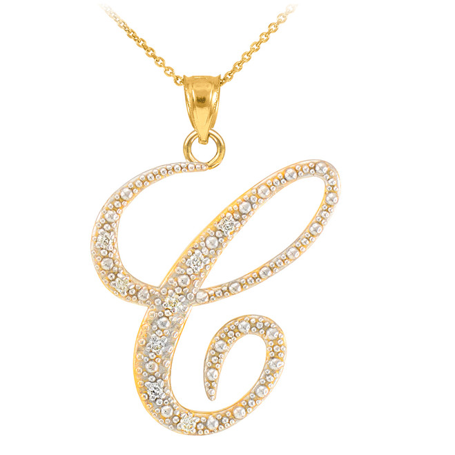 "14k Gold Letter Script ""C"" Diamond Initial Pendant Necklace"