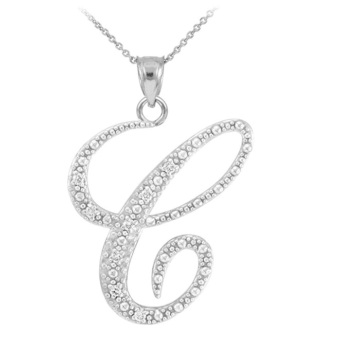 "14k White Gold Letter Script ""C"" Diamond Initial Pendant Necklace"