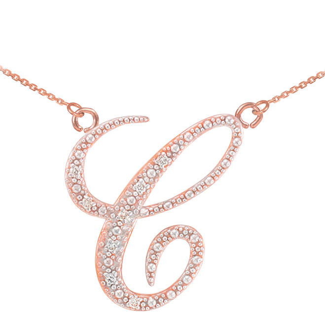 "14k Rose Gold Letter Script ""C"" Diamond Initial Necklace"
