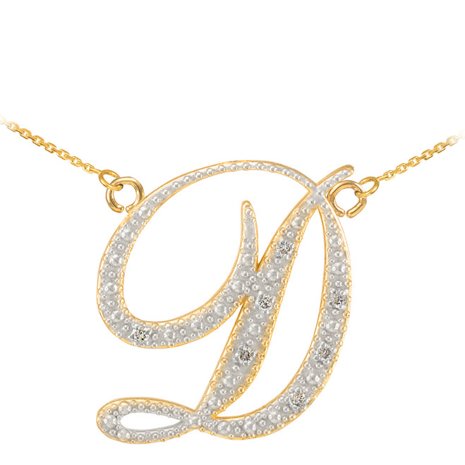 "14k Gold Letter Script ""D"" Diamond Initial  Necklace"