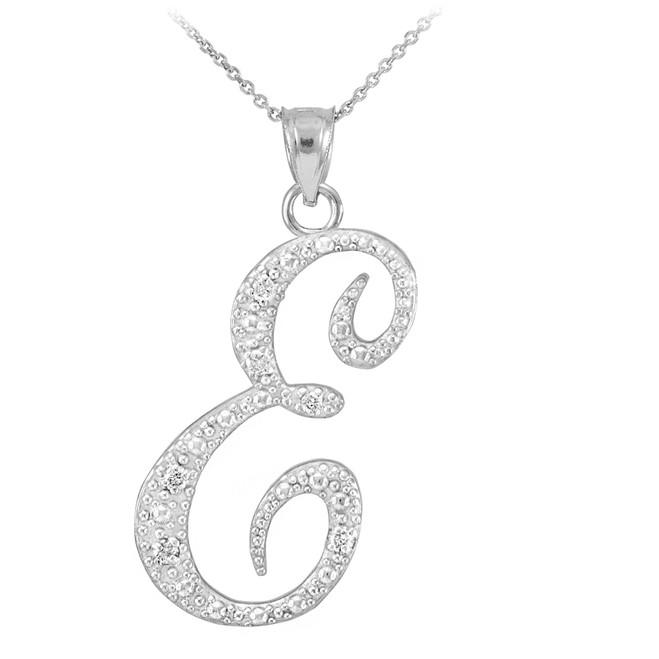 "Sterling Silver Letter Script ""E"" CZ Initial Necklace"