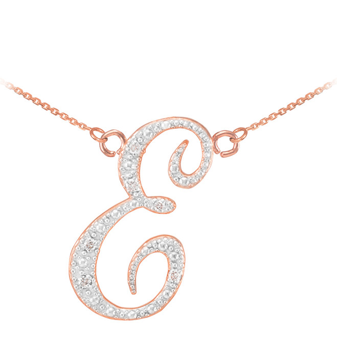 "14k Rose Gold Letter Script ""E"" Diamond Initial Necklace"