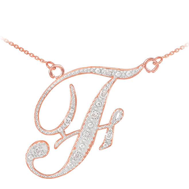 "14k Rose Gold Letter Script ""F"" Diamond Initial Necklace"