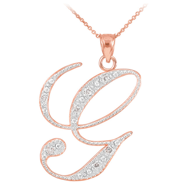 "14k Rose Gold Letter Script ""G"" Diamond Initial Pendant Necklace"