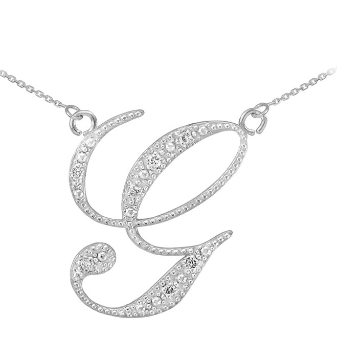 "14k White Gold Letter Script ""G"" Diamond Initial Necklace"