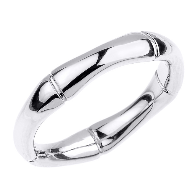 White Gold 4 MM Bamboo Band