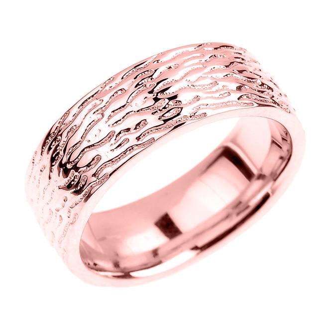 Textured Rose Gold Wedding Band - 7 MM