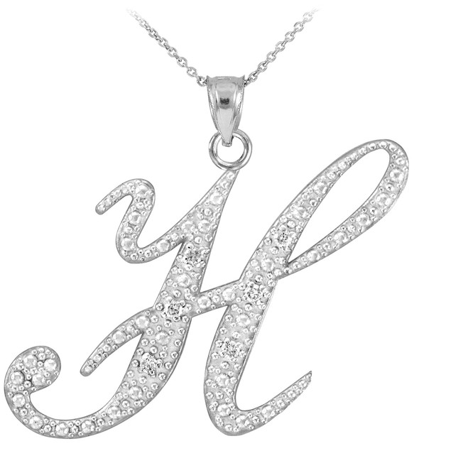 "14k White Gold Letter Script ""H"" Diamond Initial Pendant Necklace"