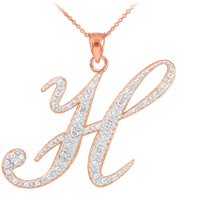 "14k Rose Gold Letter Script ""H"" Diamond Initial Pendant Necklace"