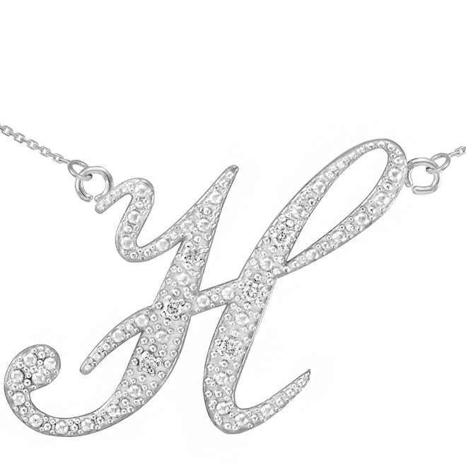"14k White Gold Letter Script ""H"" Diamond Initial Necklace"