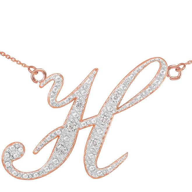 "14k Rose Gold Letter Script ""H"" Diamond Initial Necklace"