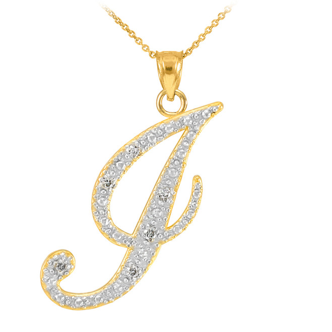 "14k Gold Letter Script ""J"" Diamond Initial Pendant Necklace"