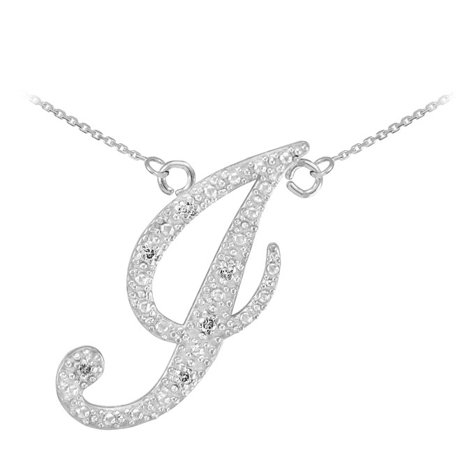 "14k White Gold Letter Script ""J"" Diamond Initial Necklace"