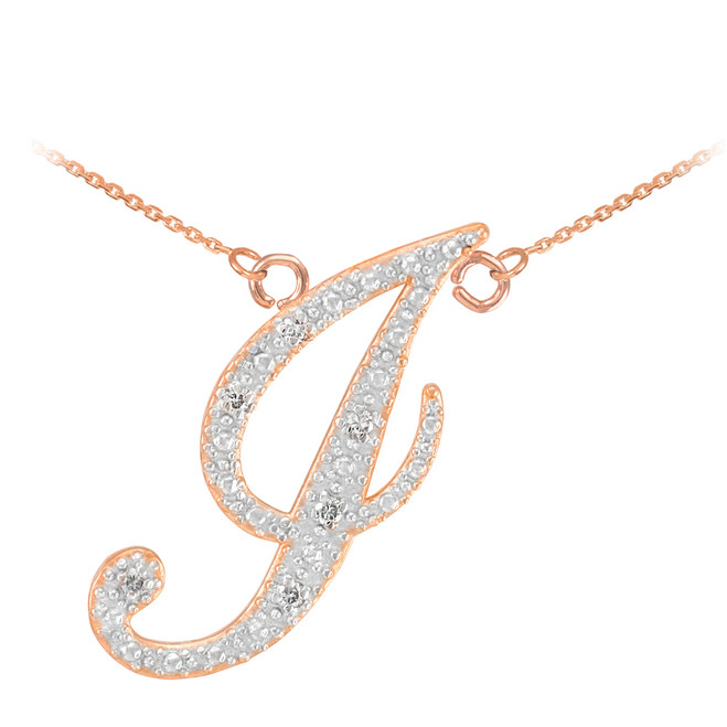 "14k Rose Gold Letter Script ""J"" Diamond Initial Necklace"