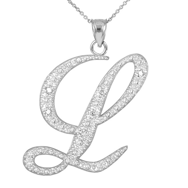 "14k White Gold Letter Script ""L"" Diamond Initial Pendant Necklace"