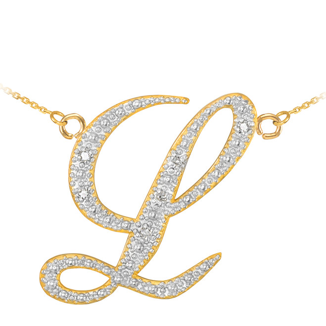 "14k Gold Letter Script ""L"" Diamond Initial Necklace"